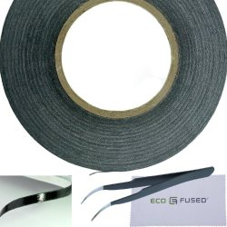 Eco-Fused Adhesive Sticker Tape for Use in Cell Phone Repair – 2mm Tape – also including 1 Pair of Tweezers / Eco-Fused Microfiber Cleaning Cloth (black)