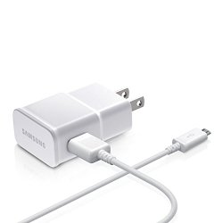 Samsung OEM 2-Amp Adapter with 5-Feet Micro USB Data Sync Charging Cables for Galaxy S2/S3/S4 Active/Note 1/2 – Non-Retail Packaging – White