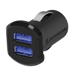 SCOSCHE USBC242M 12 Watts per port (24W/4.8A total output) USB Car Charger- The FASTEST CHARGE RATE for Apple and Android Devices-Retail Packaging-Black