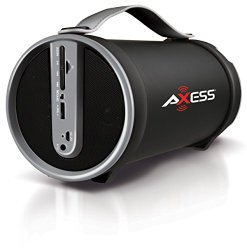 Axess SPBT1033-GY Portable Bluetooth Indoor/Outdoor 2.1 Hi-Fi Cylinder Loud Speaker with SD Card, AUX and FM Inputs, 4″ Sub In Grey Color