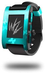 Bokeh Butterflies Neon Teal – Decal Style Skin fits original Pebble Smart Watch (WATCH SOLD SEPARATELY)