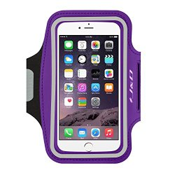 iPhone 6 Armband, J&D Sports Armband for iPhone 6, Key holder Slot, Perfect Earphone Connection while Workout Running (Purple)