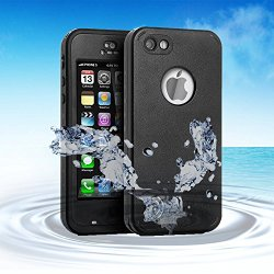 iPod 5 iPod 6 Waterproof Case, Merit Waterproof Shockproof Dirtproof Snowproof Case Cover with Kickstand for Apple iPod Touch 5th/6th Generation (Black)