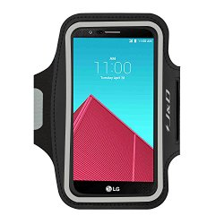 LG G4 Armband, J&D Sports Armband for LG G4, Key holder Slot, Perfect Earphone Connection while Workout Running Armband For LG G4 [Lifetime Hassle-Free Warranty] (Black)
