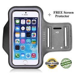 Lifetime Warranty + FREE Screen Protector, Premium Tribe Running iPhone 6S | 6 (4.7″) Sports Armband | Also Fits iPhone 5/5S/5C, Galaxy S4 + Key Holder, Water Resistant (Grey)