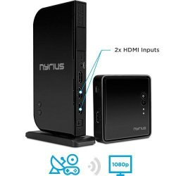 Nyrius ARIES Home+ Wireless HDMI 2x Input Transmitter & Receiver for Streaming HD 1080p 3D Video and Digital Audio from Cable box, Satellite, Bluray, DVD, PS4, PS3, Xbox One/360, Laptops, PC (NAVS502)