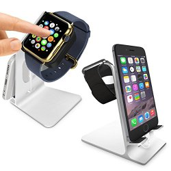 Orzly® – DuoStand Charge Station for Apple Watch & iPhone – Aluminum Desk Stand Cradle in SILVER with Built-In Insert Slots for both Grommet Wireless Charger and Lightning Cable