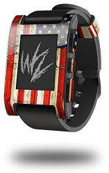 Painted Faded and Cracked USA American Flag – Decal Style Skin fits original Pebble Smart Watch (WATCH SOLD SEPARATELY)
