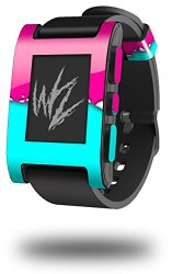 Ripped Colors Hot Pink Neon Teal – Decal Style Skin fits original Pebble Smart Watch (WATCH SOLD SEPARATELY)