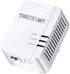 TRENDnet Powerline 1200 AV2 Adapter with Gigabit Port, Plug and Play, MIMO, Beamforming (TPL-420E)