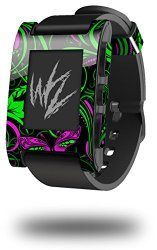Twisted Garden Green and Hot Pink – Decal Style Skin fits original Pebble Smart Watch (WATCH SOLD SEPARATELY)