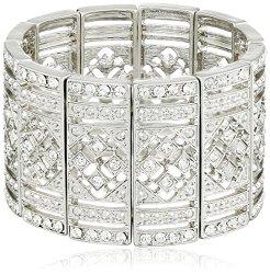 1928 Jewelry Silver-Tone Crystal Deco Stretch Bracelet, 2.25″