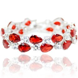 EVER FAITH Silver-Tone Lady Tear Drop Red Prong Zircon Austrian Crystal Bracelet Chain