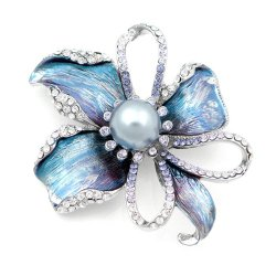 Glamorousky Flower Brooch with Silver Swarovski Element Crystal and Grey Fashion Pearl (4668)