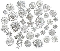 Lot 25pcs Silver Color Sparking Wedding Bridal Crystal Brooch Bouquet Kit