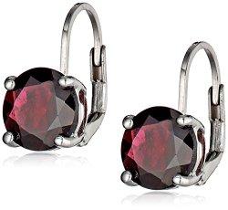 Sterling Silver 8mm Round Garnet Lever Back Earrings
