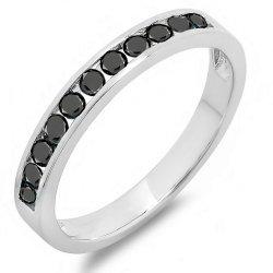 0.50 Carat (ctw) 10k White Gold Round Black Diamond Ladies Anniversary Wedding Stackable Ring Band 1/2 CT