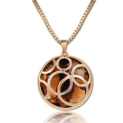 Classic Rose Gold Plated Round Pendant Sweater Chain Necklace with Brown Austrian Crystals Jewelry
