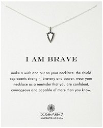 Dogeared I Am Brave Shield Chain Necklace