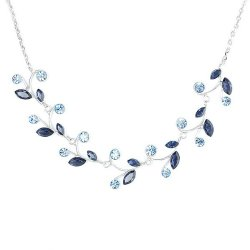 Glamorousky Blue Leaves Necklace with Blue Swarovski Element Crystals (977)