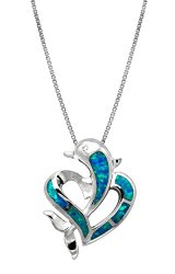 Sterling Silver Dolphin Heart CZ Necklace Pendant with Synthetic Blue Opal and 18″ Box Chain