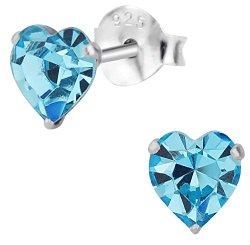 .925 Sterling Silver Hypoallergenic Aquamarine Crystal Heart Stud Earrings for Girls (Nickel Free)