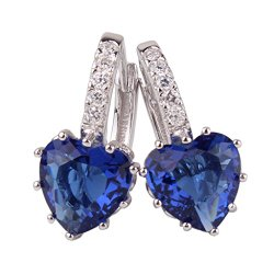 GULICX White Gold Tone Sapphire Color Blue Huggie Hoop Earrings Leverback Heart Shape Women Girls