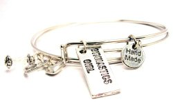 Gymnastics Girl Adjustable Wire Bangle Charm Bracelet