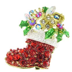 Holiday Fashion Decorated Christmas Stocking Rhinestone Brooch Pin with Red Crystals