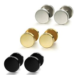 Jstyle Jewelry Stainless Steel Mens Womens Stud Earrings Ear Plugs Tunnel 3 Pairs