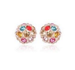 LovEnter 18K Rose Gold Plated Multi-Color Crystal Lucky Ball Stud Earrings