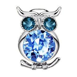 Neoglory Made With Swarovski Elements Rhinestone Blue Owl Brooch