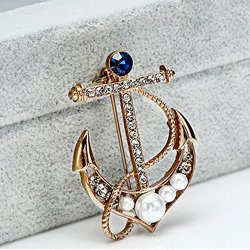 OCTCHOCO Navy Stlye Brooches Anchor Shape Pearl Rhinestone 18K Gilding Brooches Suits Collar Pin Retro Badge