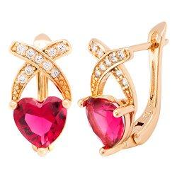 Romantic Time Womens Cross My Heart for Everlasting Love Gemstone Studded Rose Gold Dangle Earrings