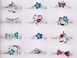 Shuning Children Kids 20pcs Cute Crystal Silver Plated Adjustable Rings Jewelry