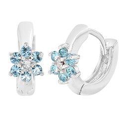 Turquoise Clear Crystal Flower Huggie Earrings Rhodium Plated Kids Girl 7mm