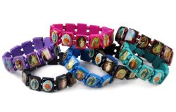 Wood Beads Saints Bracelet Elastic Adjustable Bangles