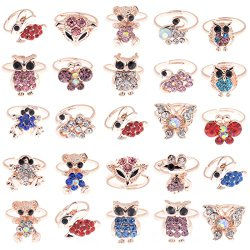 Yantu Children Kids Boys 10pcs Gold Plated Animal Children Crystal Adjustable Rings Jewelry