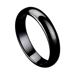5mm Black Ceramic Wedding Band Ring Domed Ring High Polished