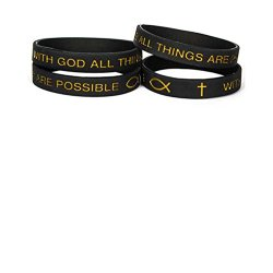 All Things Are Possible Black Adult Silicone Bands Package of 12