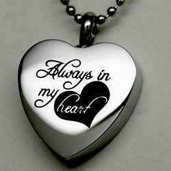 """ Always in My Heart "" Cremation Jewelry Silver Urn Necklace Pendant Memorial Keepsake By Maymii"