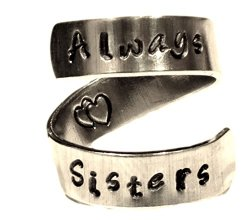 Always Sisters Wrap Twist Ring – Best Friends Ring – Adjustable Aluminum Ring – Hand Stamped Ring