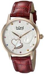 Burgi Women's BUR149 Round Black Dial Three Hand Quartz Staniless Steel Strap Watch