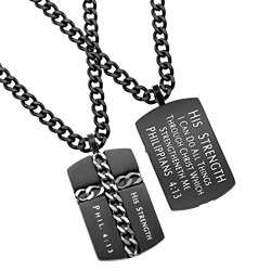 Chistian Dog Tag Cross Chain Necklace, HIS STRENGTH Phil 4:13, Stainless Steel Curb