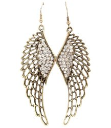 Gorgeous Antique Gold Tone Large 3-1/4″ Angel Wings Dangle Earrings with Crystals for Women and Teens