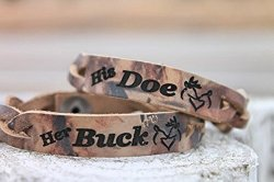 her BUCK & his DOE– Braided RealTree Camo Leather Bracelets– Set of Two-one to give and one to keep