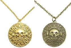 Inspired By Pirates of the Caribbean Movies Cursed Aztec Coin Medallion Necklace Skull Necklace New Version