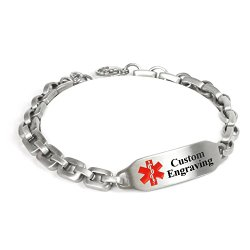 MyIDDr Custom Medical ID Bracelet with Free Engraving, Steel Matte Links