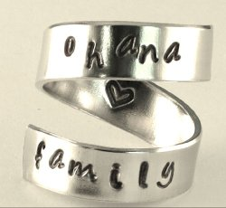 ohana family – Adjustable Twist Wrap Aluminum Ring – Handed Stamped