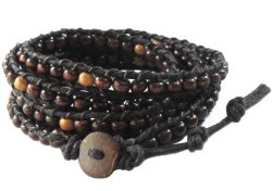 Rare Asian Vintage Art Handmade 100% Thai Buddha Tibet Fashion Style Nature Dark Brown Wood Bead Wristband Bracelet String from Thailand